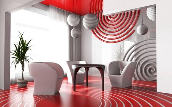 Idée décoration pour un salon en rouge et blanc