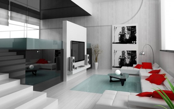id e d coration pour un salon en rouge et blanc. Black Bedroom Furniture Sets. Home Design Ideas