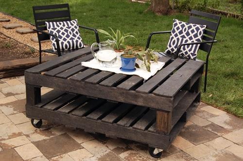 table basse en bois de palettes pour jardin
