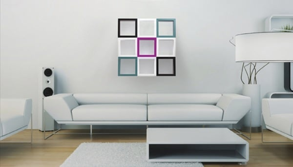 Etagère funky design 3d dans salon moderne