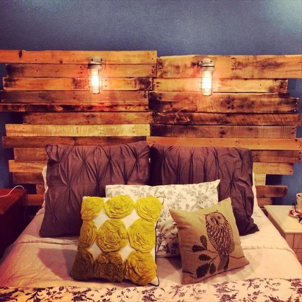 Tête de lit en palette avec éclairage intégré