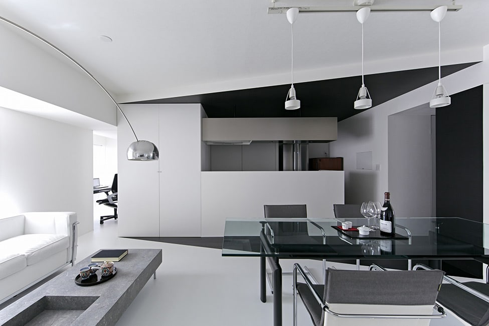 Japon l 39 appartement room 407 black and white moderne house 1001 photos inspirations - Inspiratie salon moderne ...