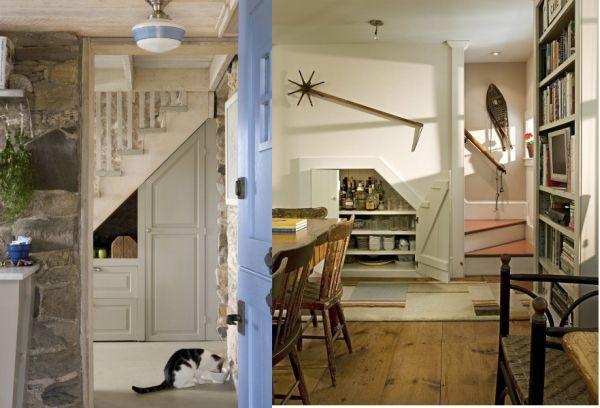 Idées d'aménagement de l'espace sous l'escalier avec une porte
