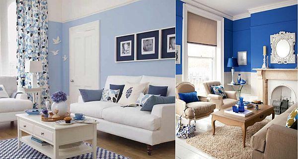 4 id es d co de salon blanc et bleu for Salon blanc moderne