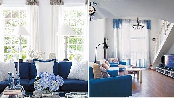 4 Idées déco de salon blanc et bleu