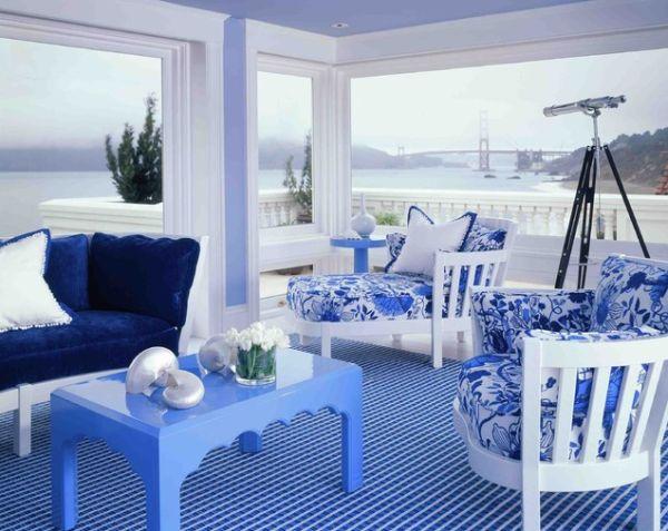 ides de design de salons bleus 4 - Salon Bleu Marine Et Blanc