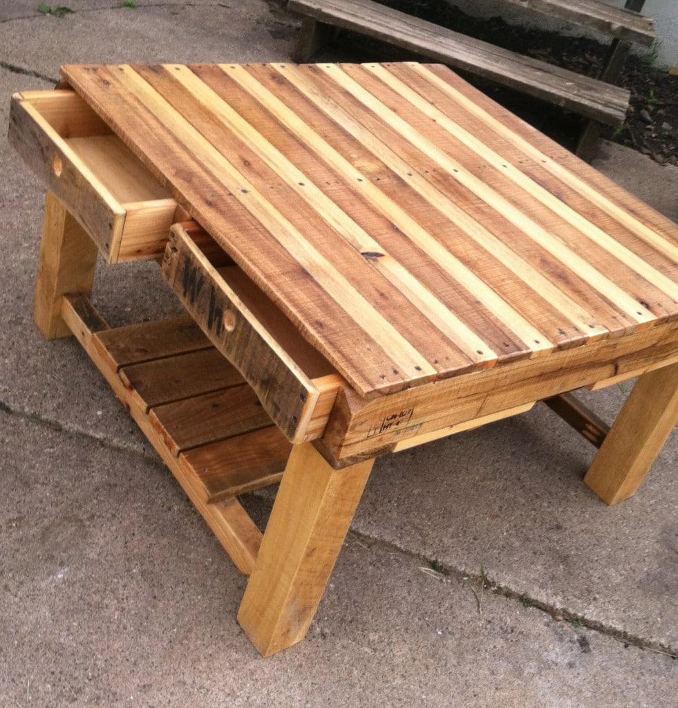 table basse en palettes avec tiroirs - Table De Salon En Bois De Palette