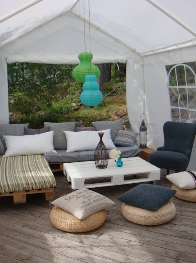 Salon de jardin en palette: 15 manières de le concevoir et l'aménager