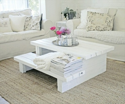 Table basse en palette 50 id es originales - Table basse palette blanche ...