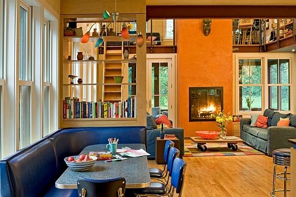Salon avec des couleurs vintage