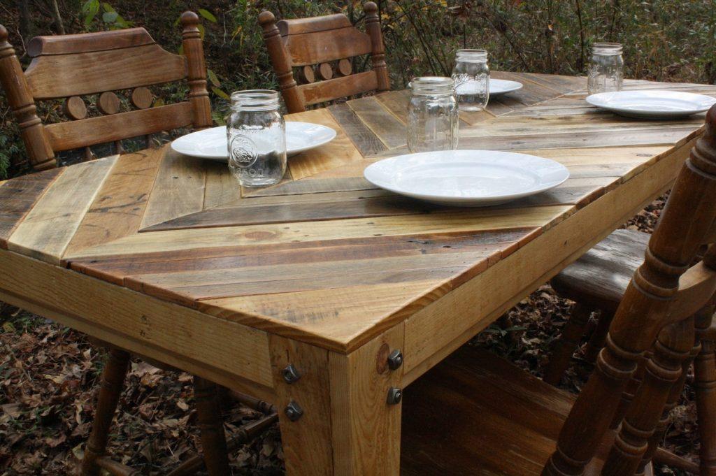 table en palette 25 id es pour fabriquer votre propre table en bois. Black Bedroom Furniture Sets. Home Design Ideas