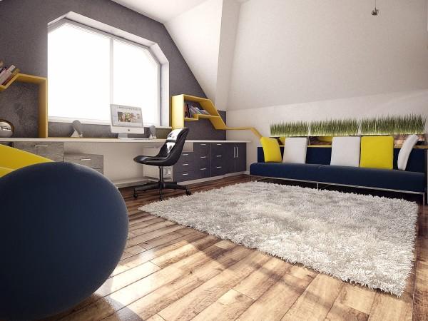 Chambre ado bleue jaune