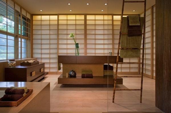 salle de bain orientale avec chelle en bambou - Echelle Salle De Bain Bambou