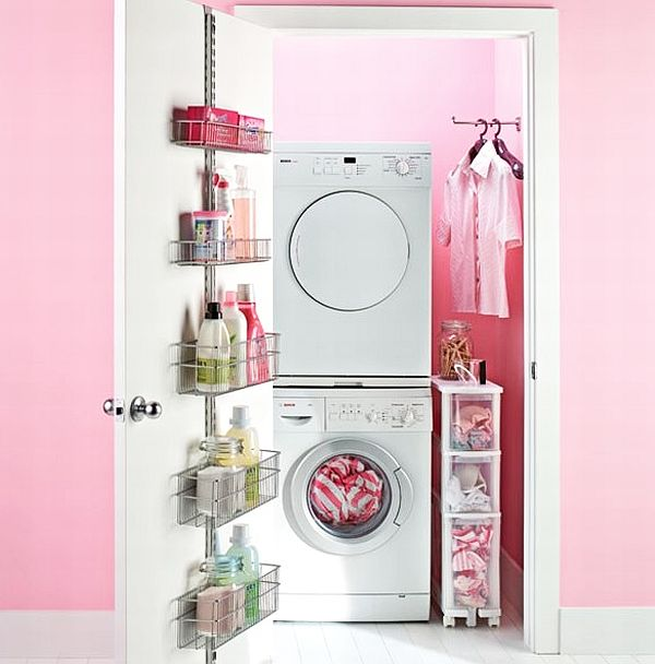 Buanderie décoration rose