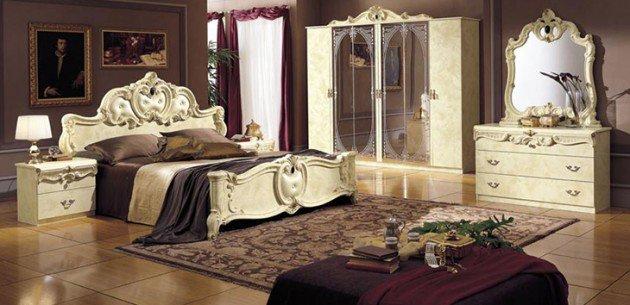 chambre style baroque grand lit et armoire