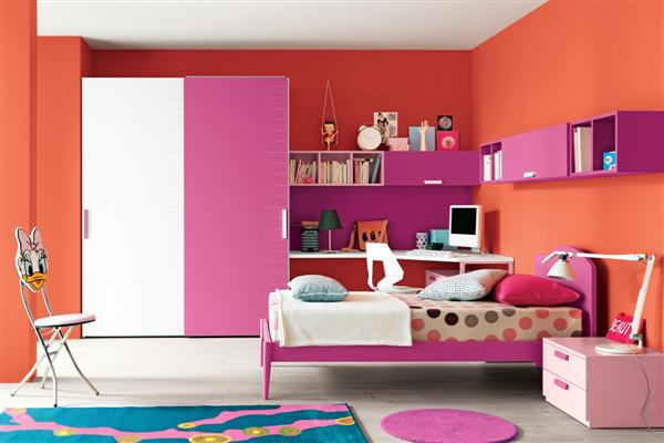 Orange and pink girls room memes for Chambre ado fille moderne