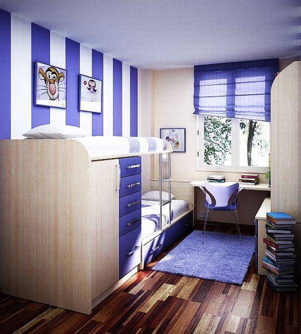 chambre ado fille couleur bleue avec lit un place
