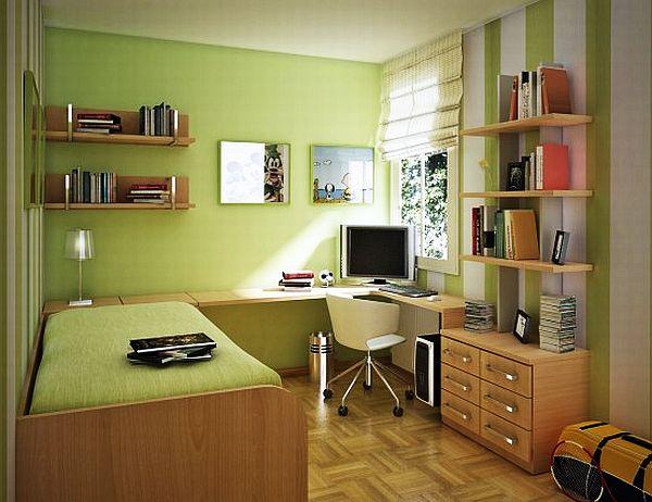 chambre ado fille vert et lit une place
