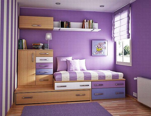 chambre ado fille violet lit une place