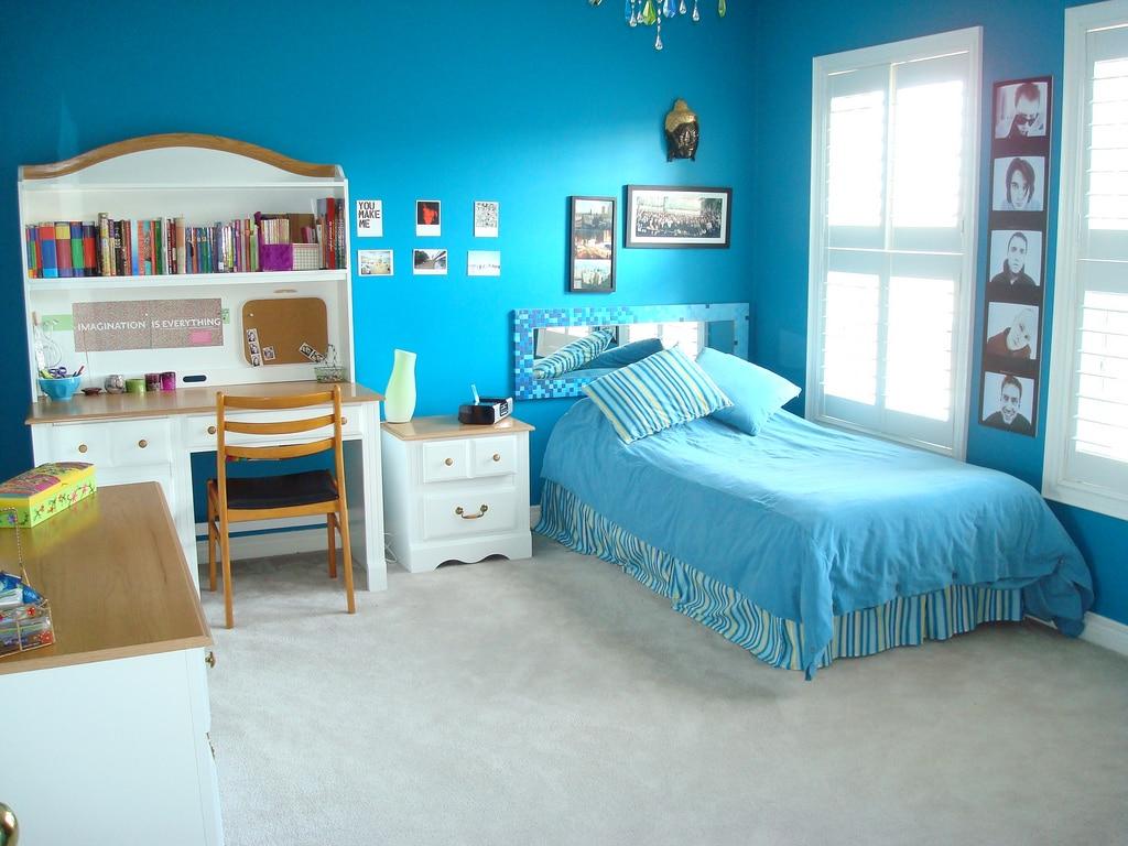 chambre ado fille bleu simple