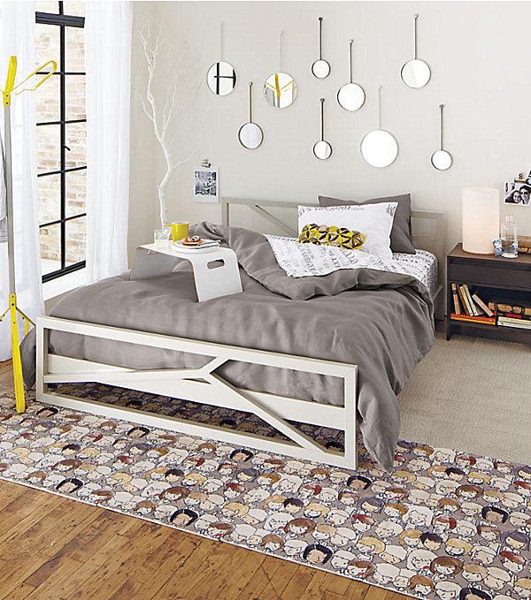 Chambre adolescente gris et jaune
