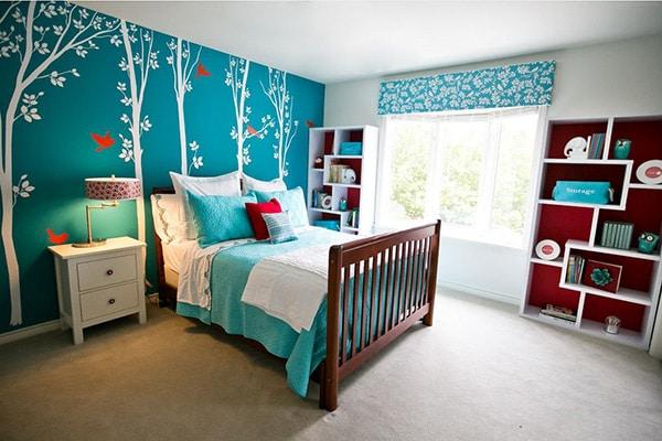 20 id es de d coration de chambre bleu turquoise - Tapisserie originale chambre ...