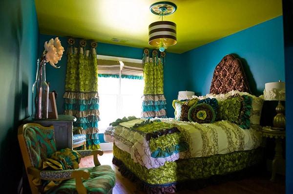 chambre boho chic turquoise