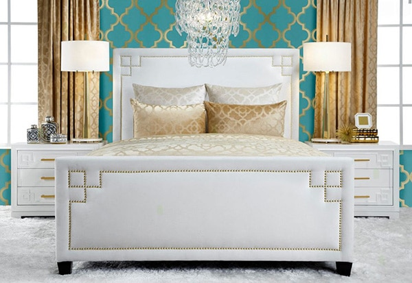 chambre turquoise et or