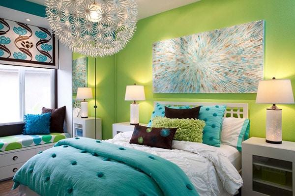 chambre avec accessoire couleur turquoise