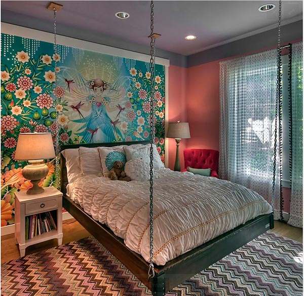 chambre art mural turquoise