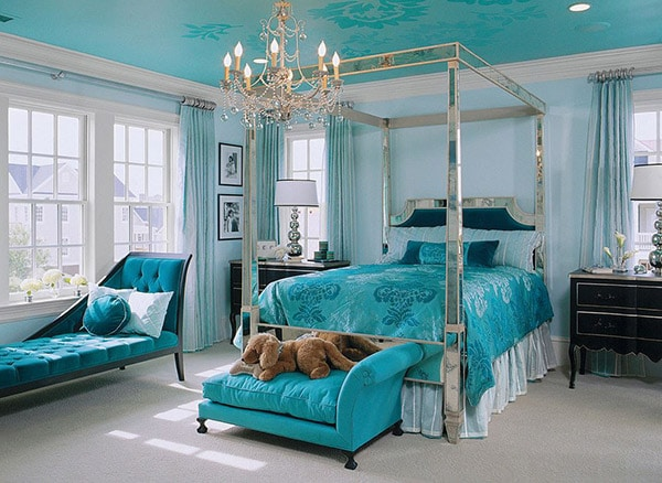 chambre motif tissu turquoise