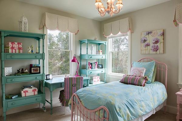 Chambre Avec étagères Turquoise