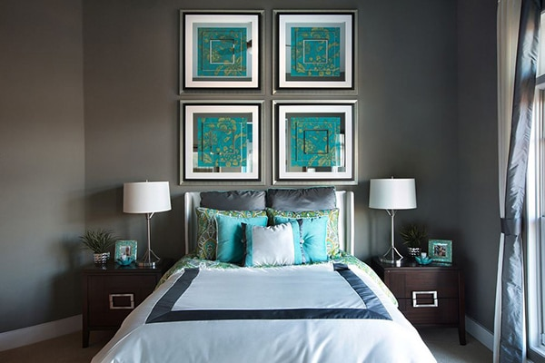 chambre cadre turquoise