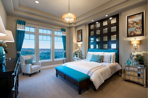 chambre turquoise glamour