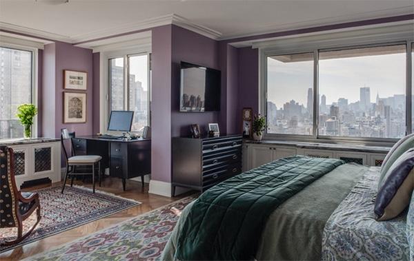 Chambre décoration violette