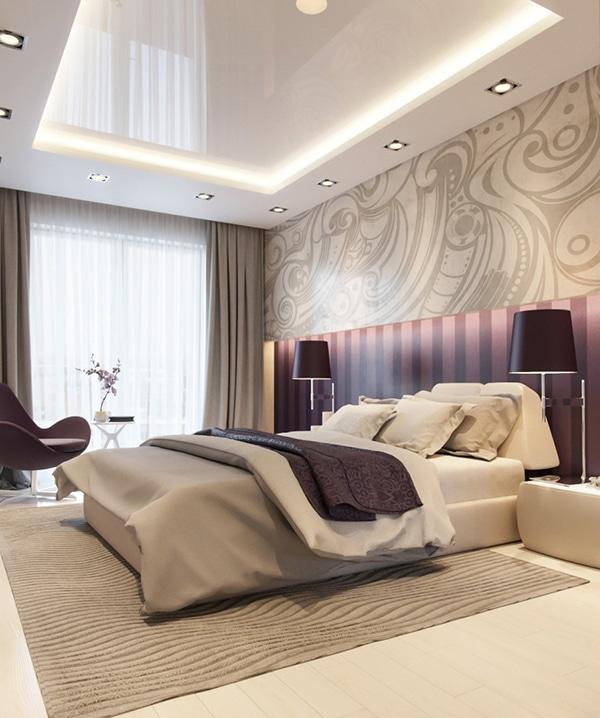 Chambre violette design