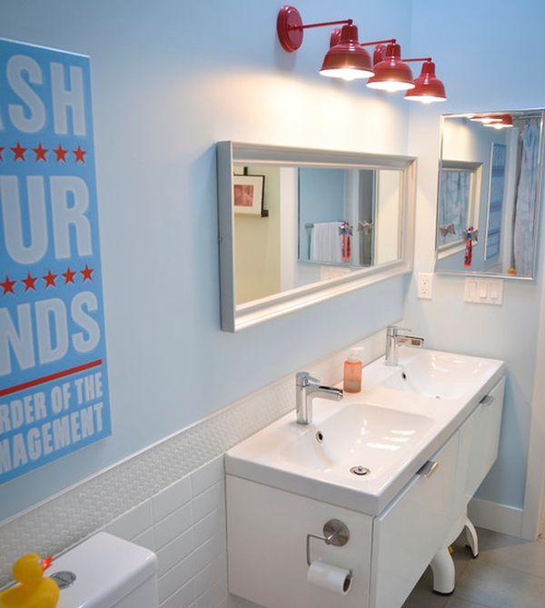 salle de bain décoration enfant lampes