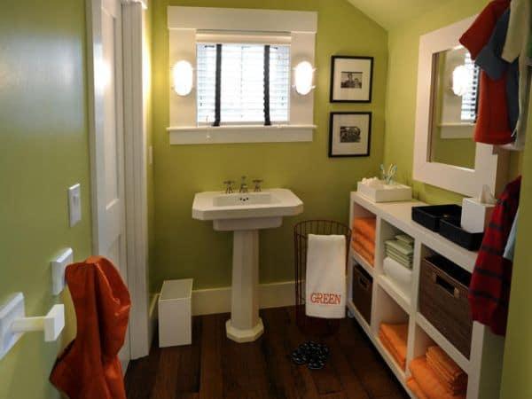Salle de bain enfant moderne verte grise et blanche - Salle de bain enfants ...