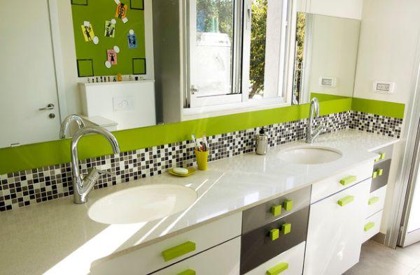 salle de bain enfant moderne verte grise et blanche - Belle Salle De Bain Moderne