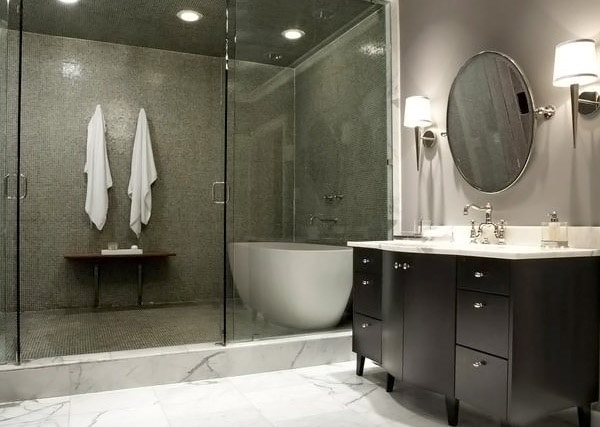 Tache grise baignoire - Idee salle de bain grise ...