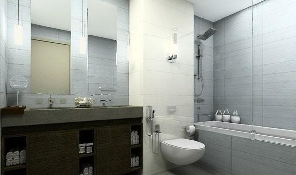 salle de bain grise 65 id es du gris taupe l 39 ardoise pour se sentir comme dans un cocon. Black Bedroom Furniture Sets. Home Design Ideas