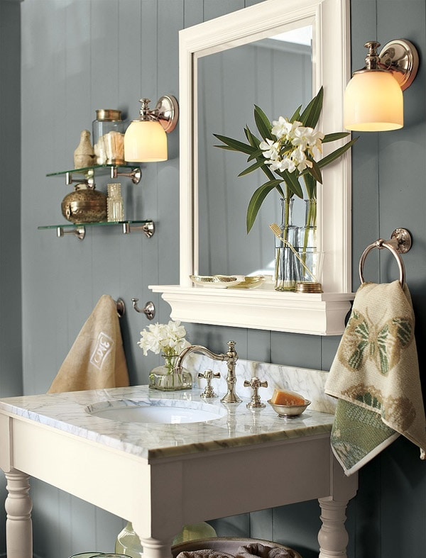 Salle de bain dans les ton gris - Salle de bain grise et bois ...