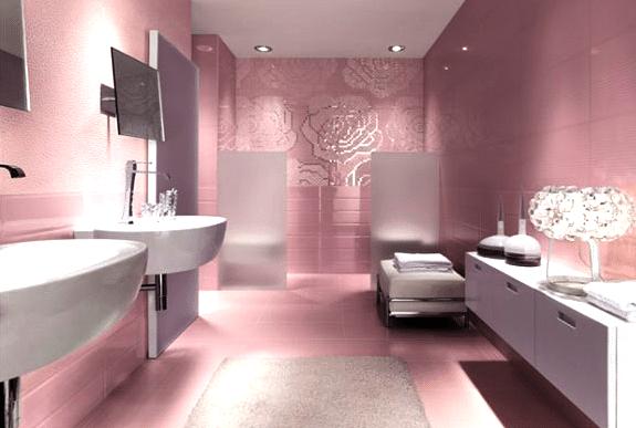 salle de bain rose pale