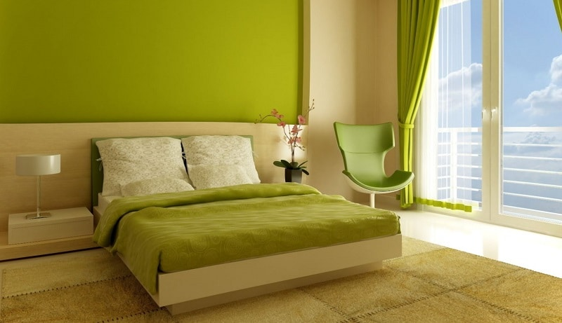 chambre a coucher vert et marron avec des id es int ressantes pour la conception. Black Bedroom Furniture Sets. Home Design Ideas