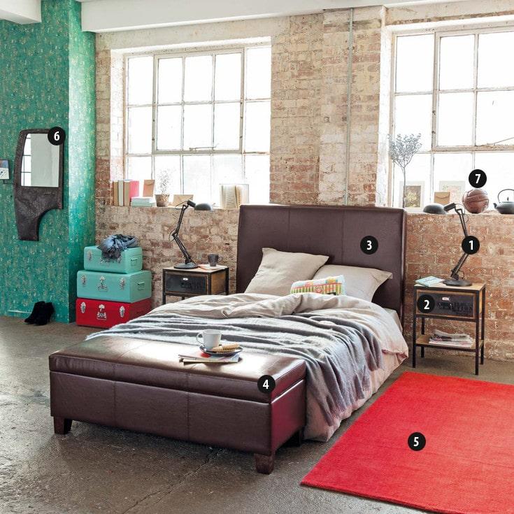 chambre style industriel trendy comme les panneaux de bton lger installs au mur sont la vedette. Black Bedroom Furniture Sets. Home Design Ideas