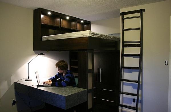 Lit mezzanine avec bureau int gr 29 id es pratiques - Lit mezzanine suspendu ...
