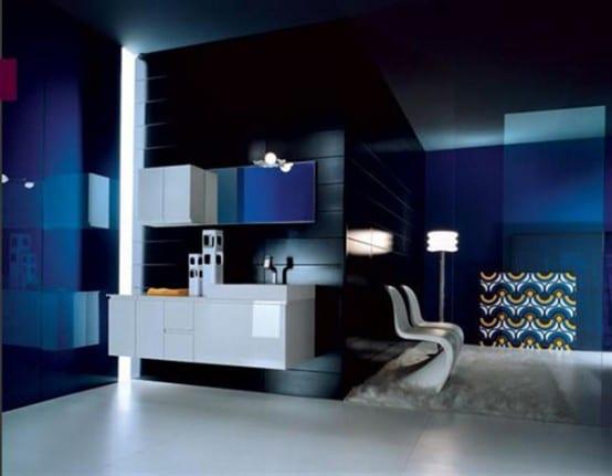 Salle de bain bleue 42 id es originales pour votre d co - Idee eclairage salle de bain ...