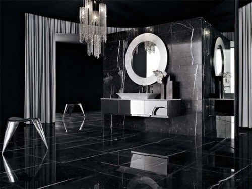 salle de bain noire 53 id es d co originales couper le souffle. Black Bedroom Furniture Sets. Home Design Ideas