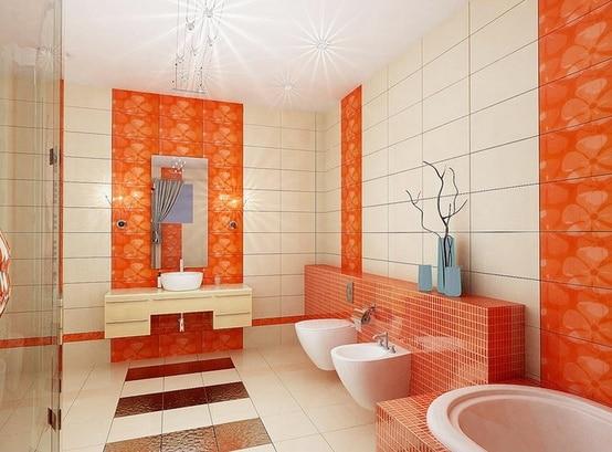 Salle de bain orange 28 id es pour inspirer votre d co - Carrelage salle de bain orange ...