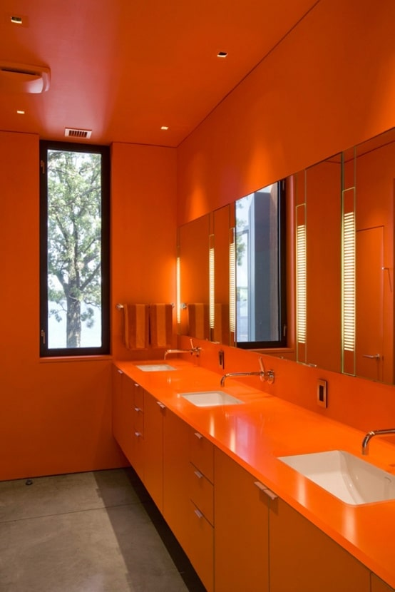 salle de bain orange 54 id es pour inspirer votre d co. Black Bedroom Furniture Sets. Home Design Ideas
